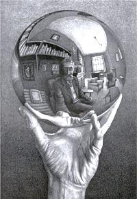 Hand with Globe, by M.C. Escher